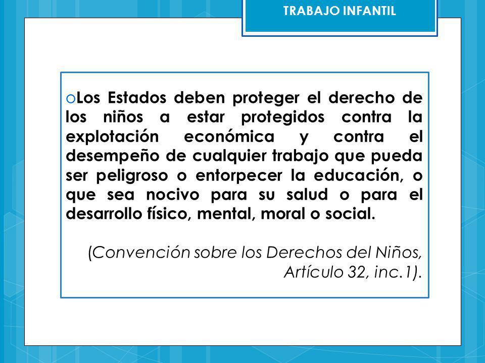 (Convención sobre los Derechos del Niños, Artículo 32, inc.1).