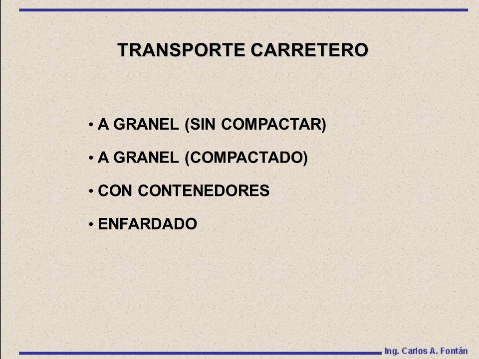 TRANSPORTE CARRETERO A GRANEL (SIN COMPACTAR) A GRANEL (COMPACTADO)