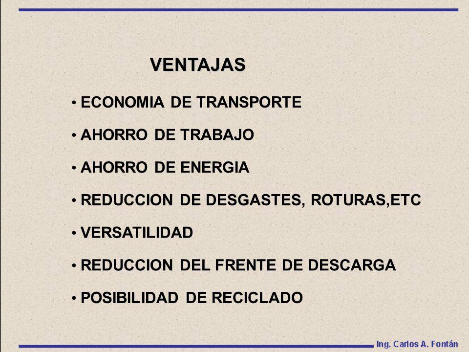 VENTAJAS ECONOMIA DE TRANSPORTE AHORRO DE TRABAJO AHORRO DE ENERGIA