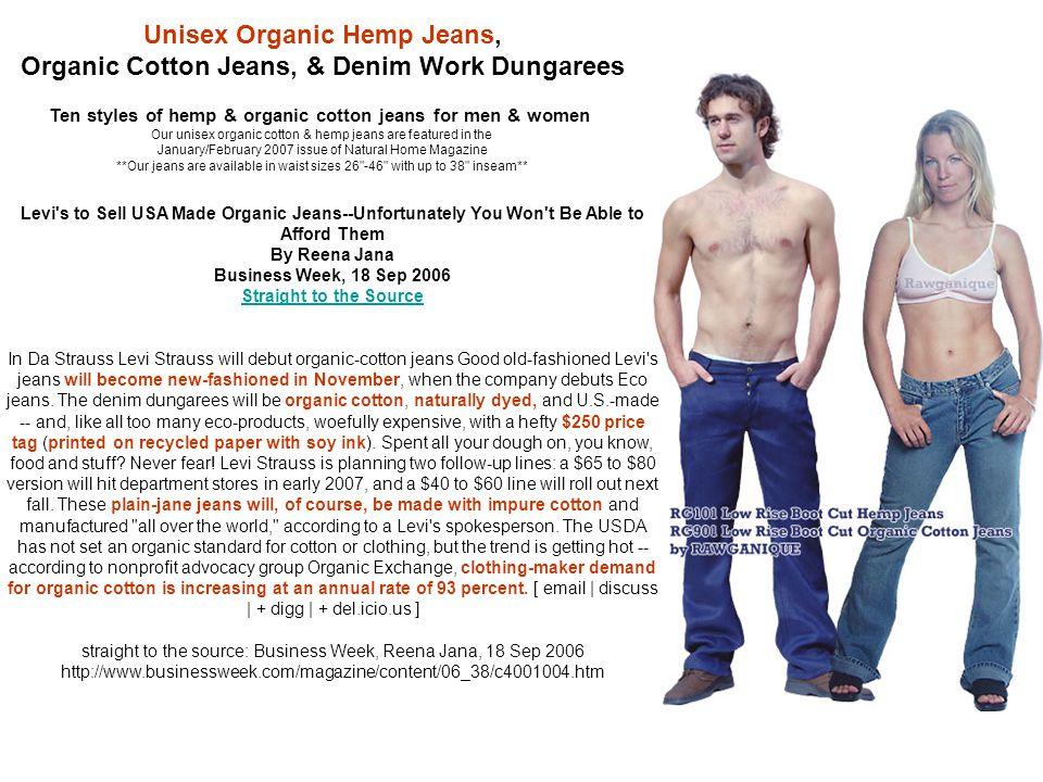 Ten styles of hemp & organic cotton jeans for men & women