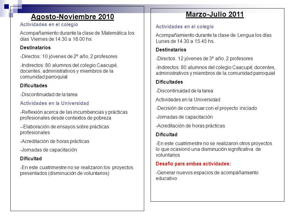 Marzo-Julio 2011 Agosto-Noviembre 2010