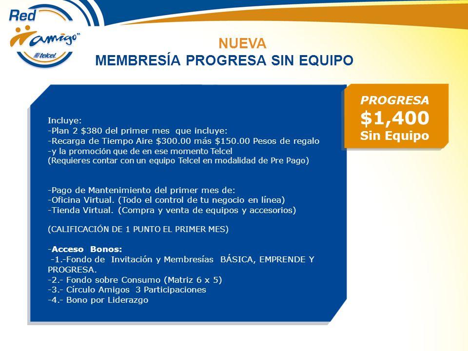 $1,400 NUEVA MEMBRESÍA PROGRESA SIN EQUIPO Sin Equipo PROGRESA