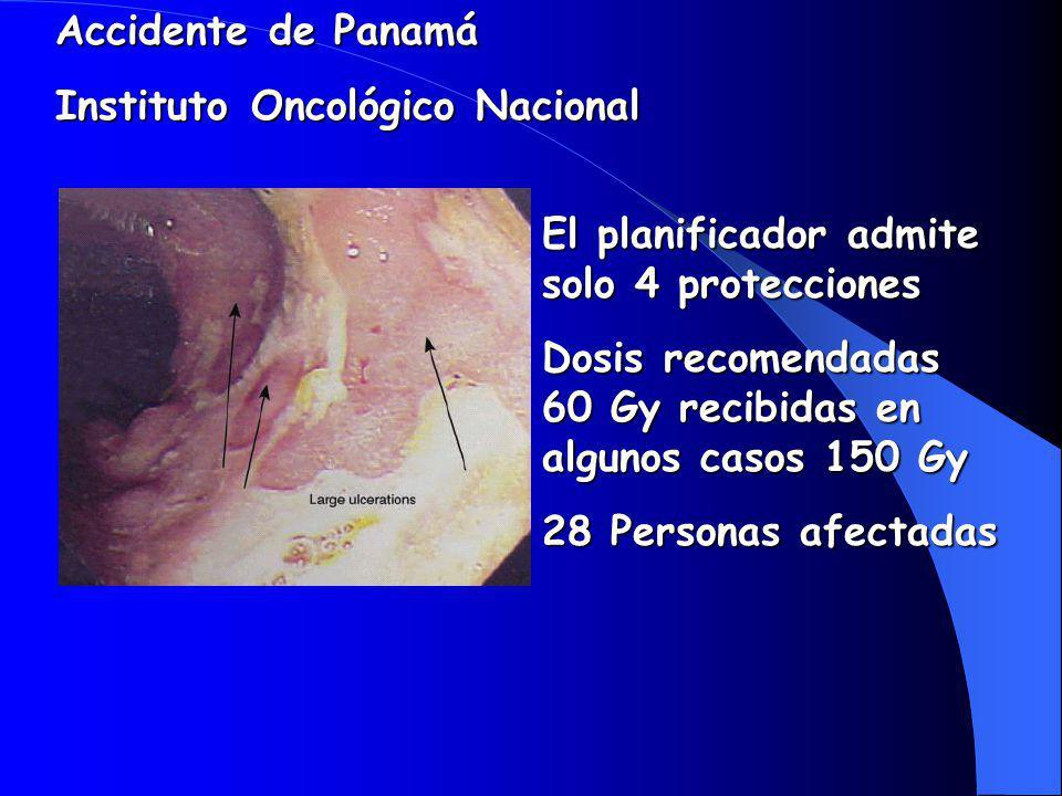 Accidente de Panamá Instituto Oncológico Nacional. El planificador admite solo 4 protecciones.