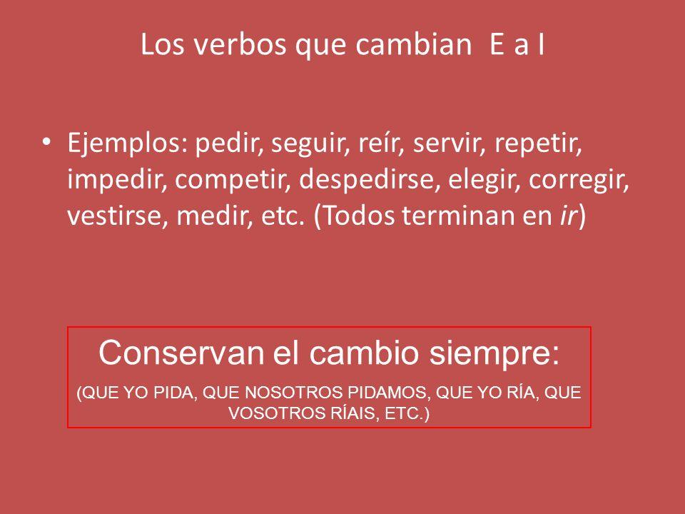 Los verbos que cambian E a I