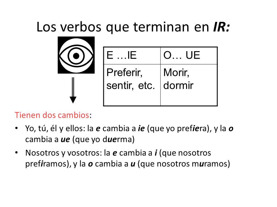 Los verbos que terminan en IR: