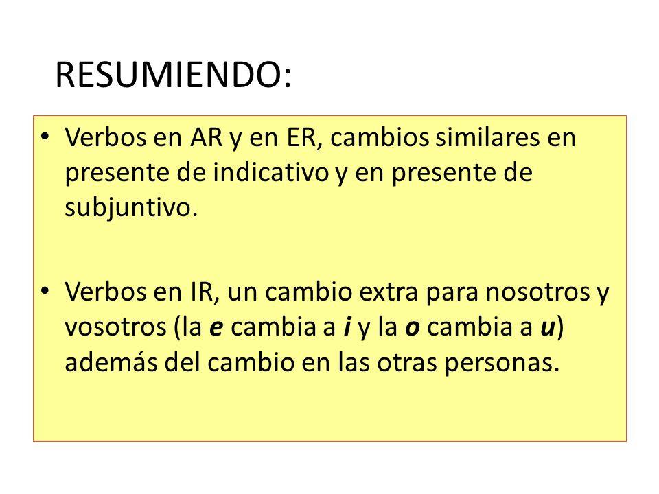 RESUMIENDO: Verbos en AR y en ER, cambios similares en presente de indicativo y en presente de subjuntivo.