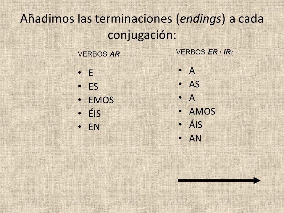 Añadimos las terminaciones (endings) a cada conjugación: