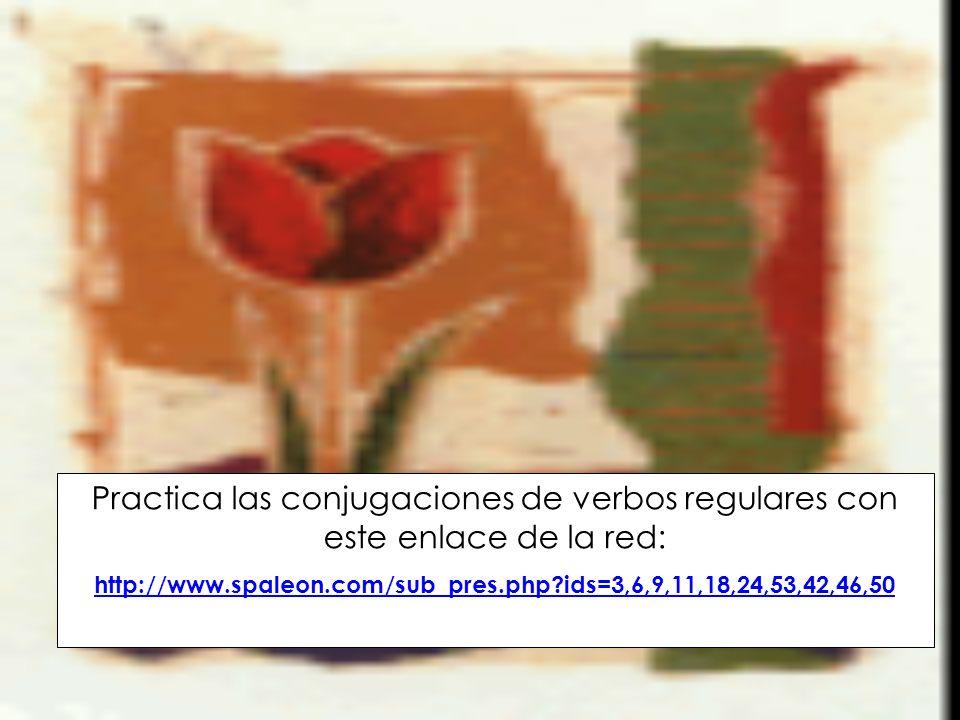 Practica las conjugaciones de verbos regulares con este enlace de la red:
