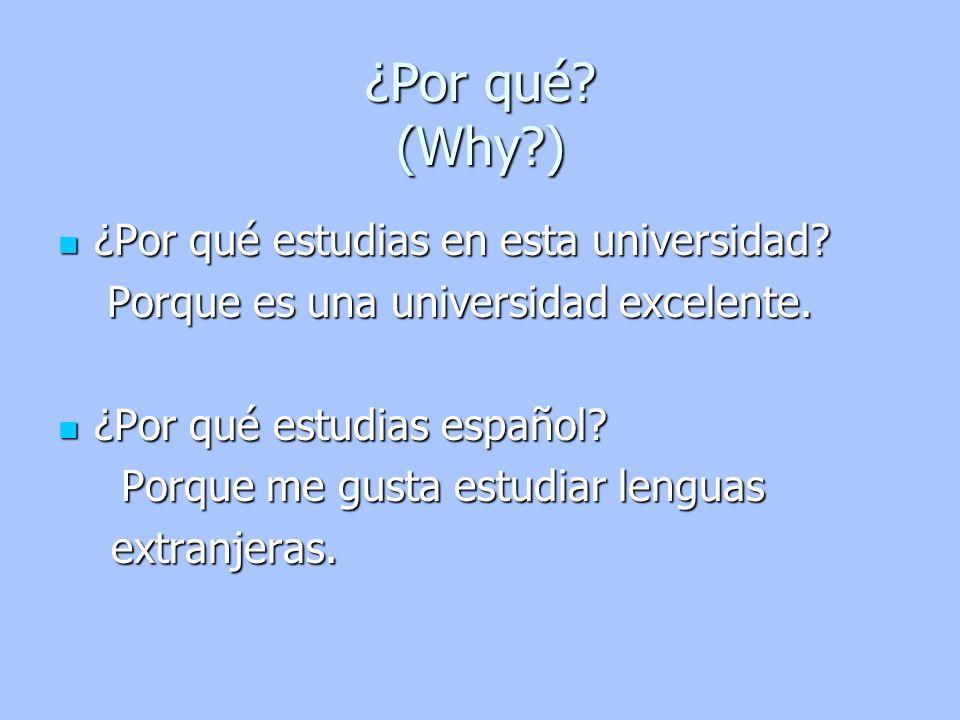 ¿Por qué (Why ) ¿Por qué estudias en esta universidad