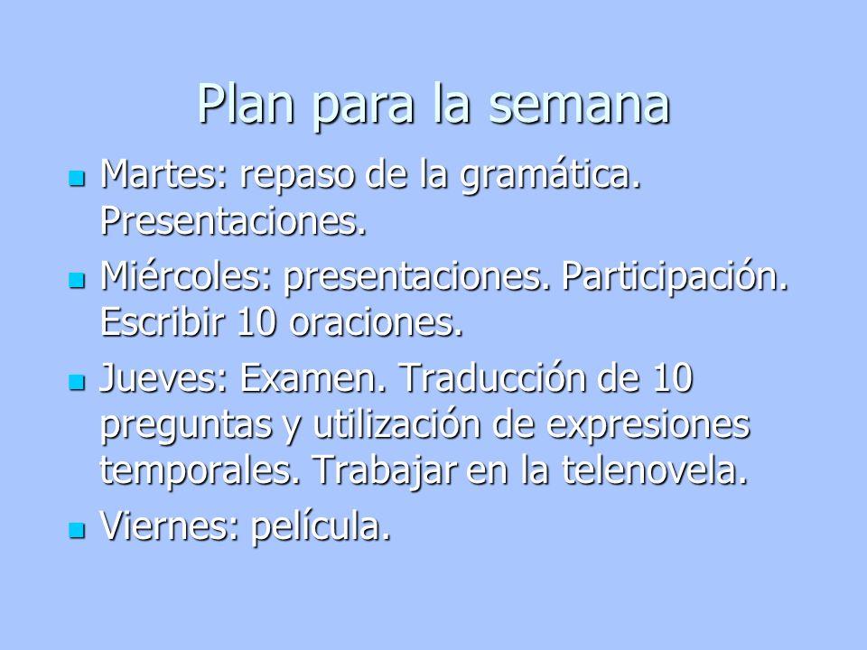 Plan para la semana Martes: repaso de la gramática. Presentaciones.
