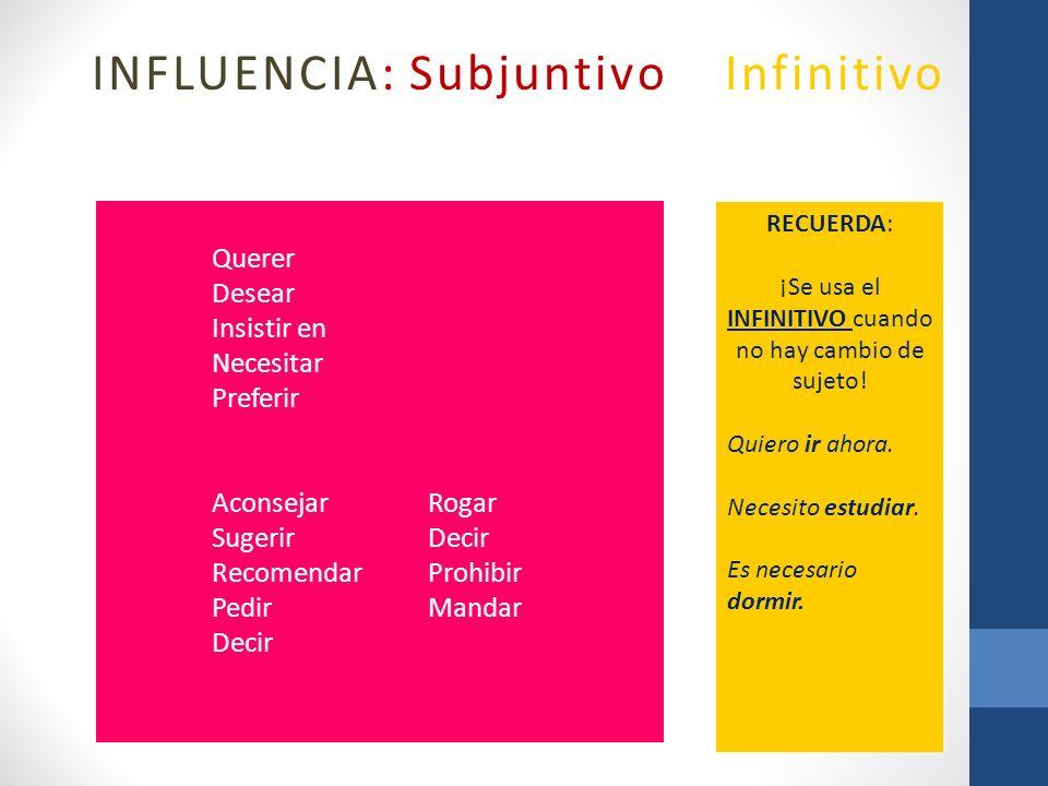 INFLUENCIA: Subjuntivo o Infinitivo