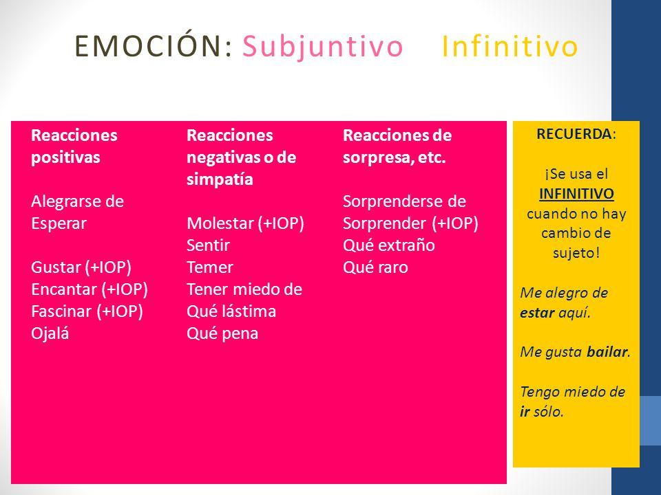 EMOCIÓN: Subjuntivo o Infinitivo