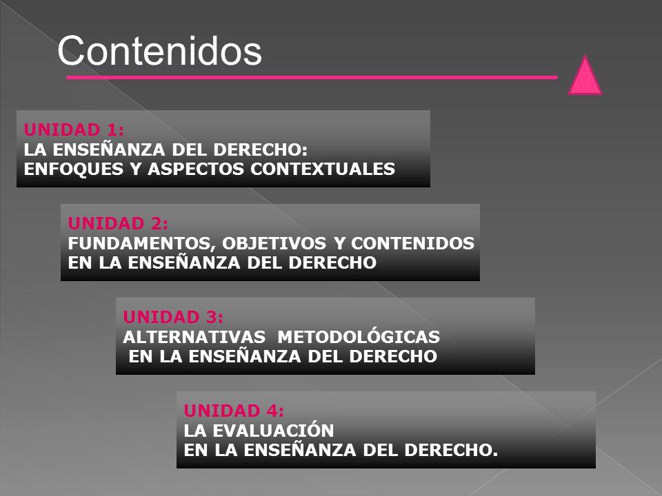 Contenidos UNIDAD 1: LA ENSEÑANZA DEL DERECHO: