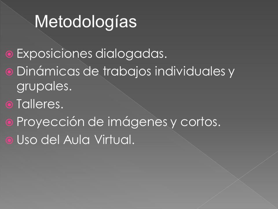 Metodologías Exposiciones dialogadas.