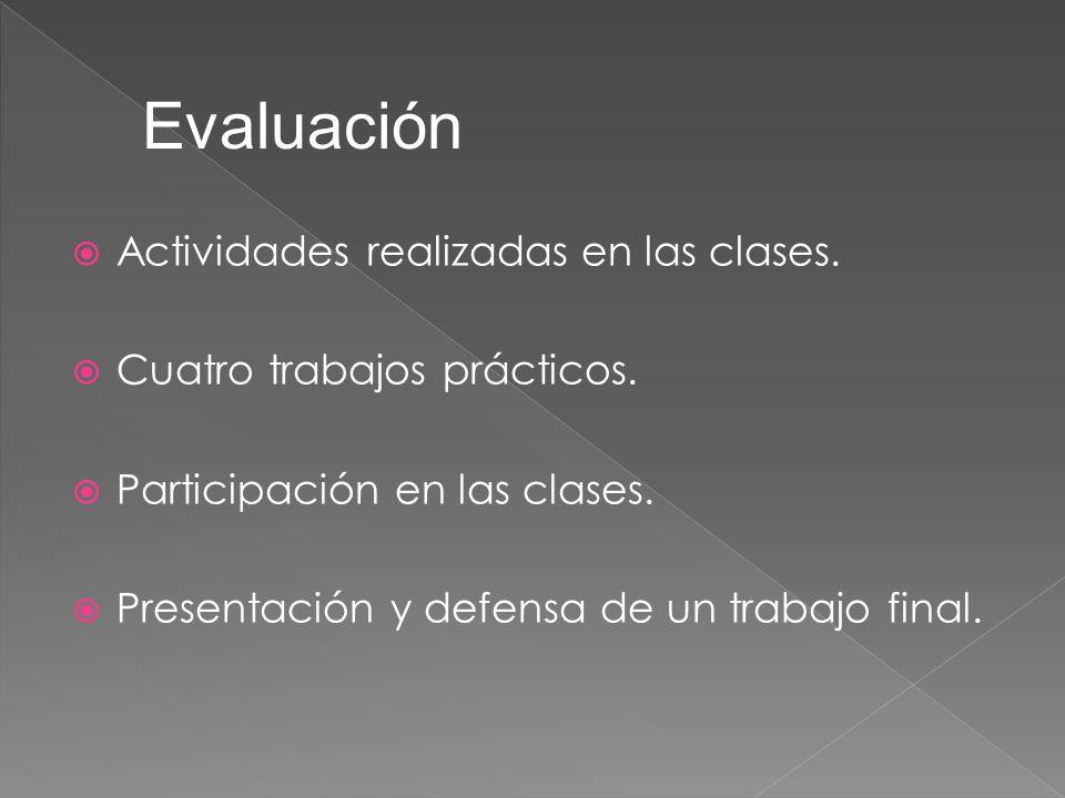 Evaluación Actividades realizadas en las clases.