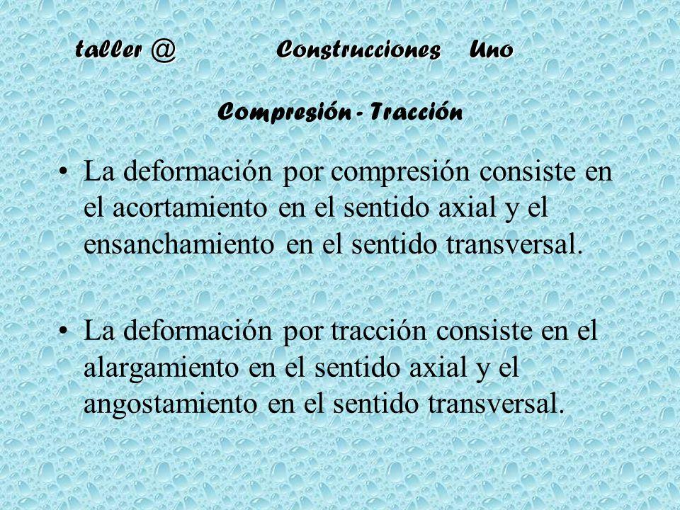 Compresión - Tracción La deformación por compresión consiste en el acortamiento en el sentido axial y el ensanchamiento en el sentido transversal.