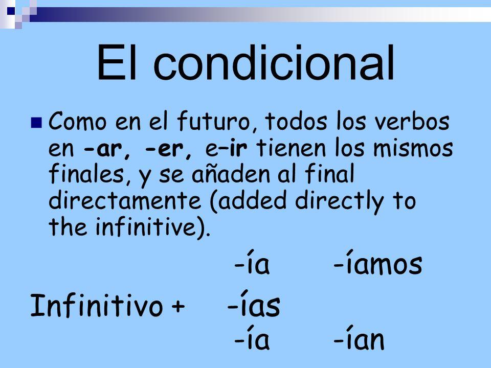 El condicional Infinitivo + -ías -ía -ían