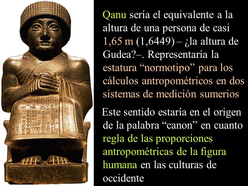 Qanu sería el equivalente a la altura de una persona de casi 1,65 m (1,6449) – ¿la altura de Gudea –. Representaría la estatura normotipo para los cálculos antropométricos en dos sistemas de medición sumerios