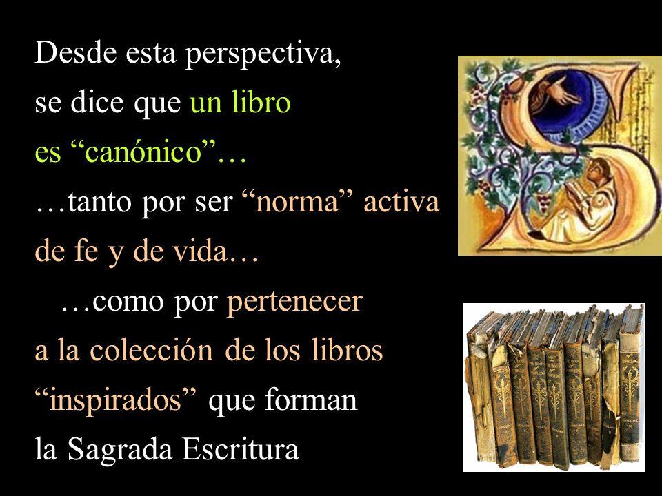 Desde esta perspectiva, se dice que un libro es canónico …
