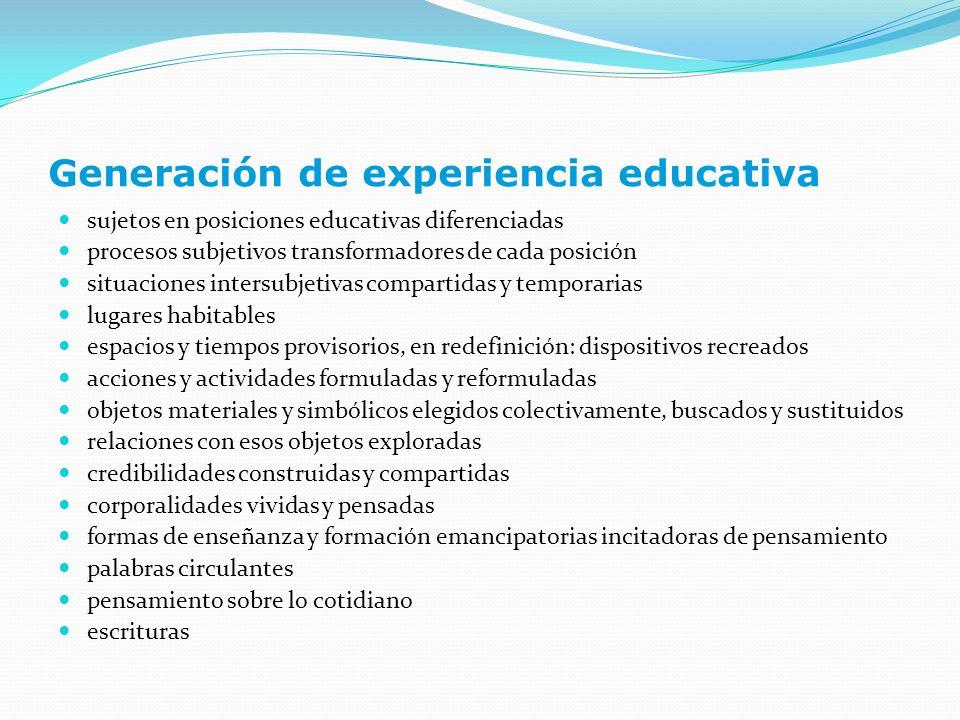 Generación de experiencia educativa