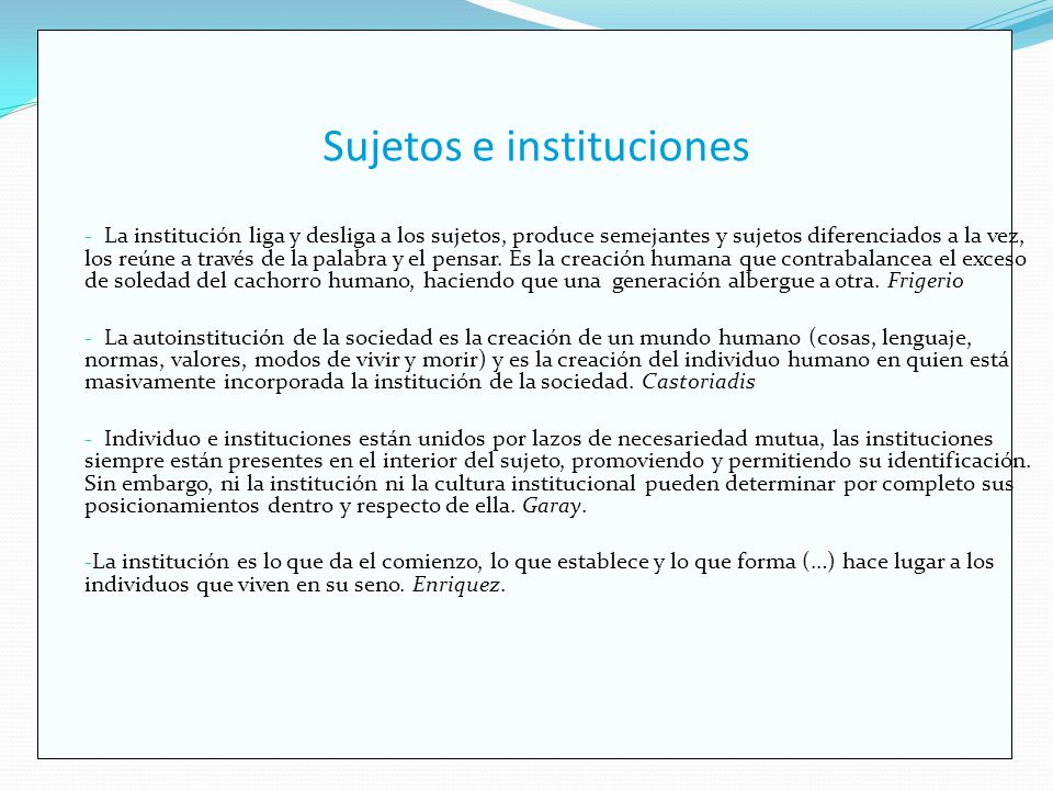 Sujetos e instituciones