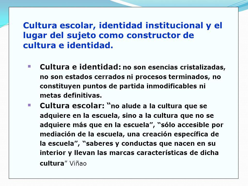 Cultura escolar, identidad institucional y el lugar del sujeto como constructor de cultura e identidad.