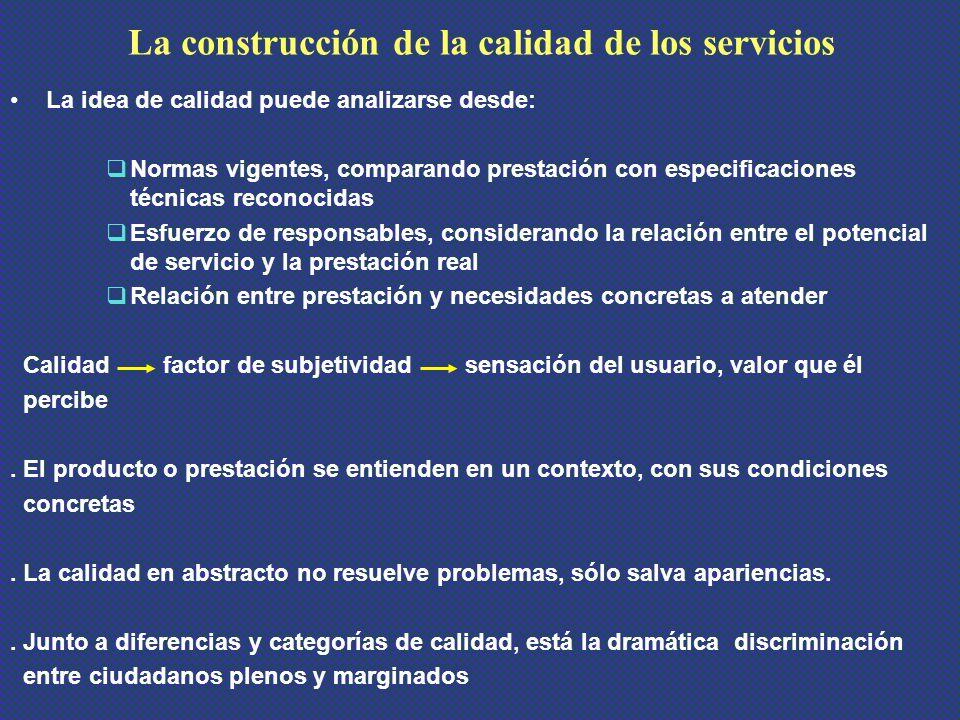 La construcción de la calidad de los servicios
