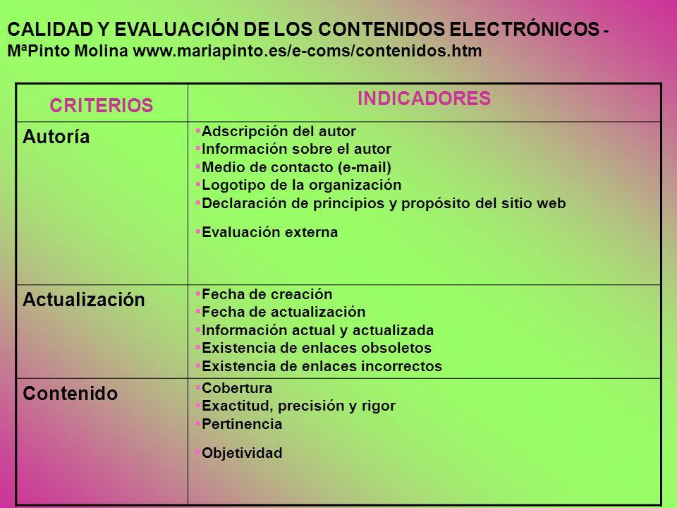 CALIDAD Y EVALUACIÓN DE LOS CONTENIDOS ELECTRÓNICOS -MªPinto Molina www.mariapinto.es/e-coms/contenidos.htm
