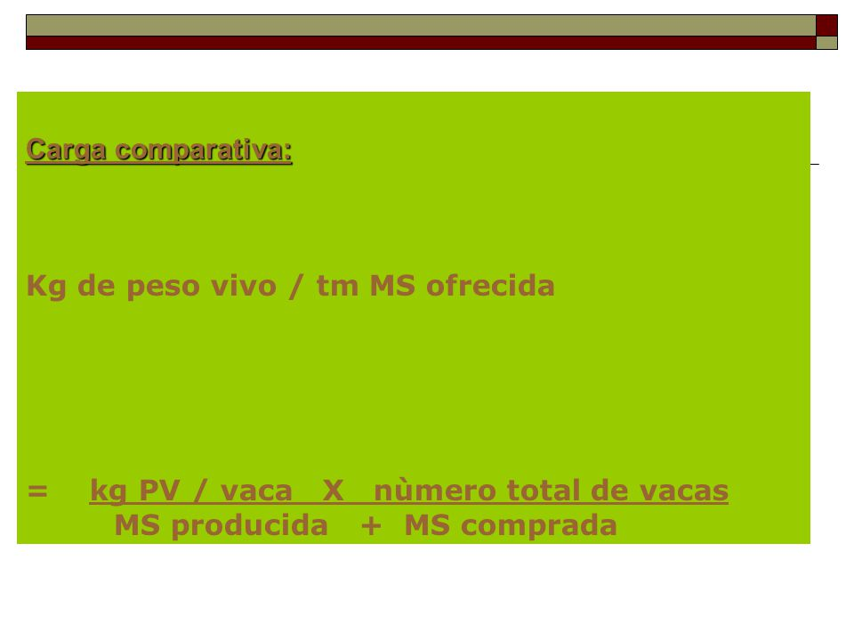 Carga comparativa: Kg de peso vivo / tm MS ofrecida. = kg PV / vaca X nùmero total de vacas.