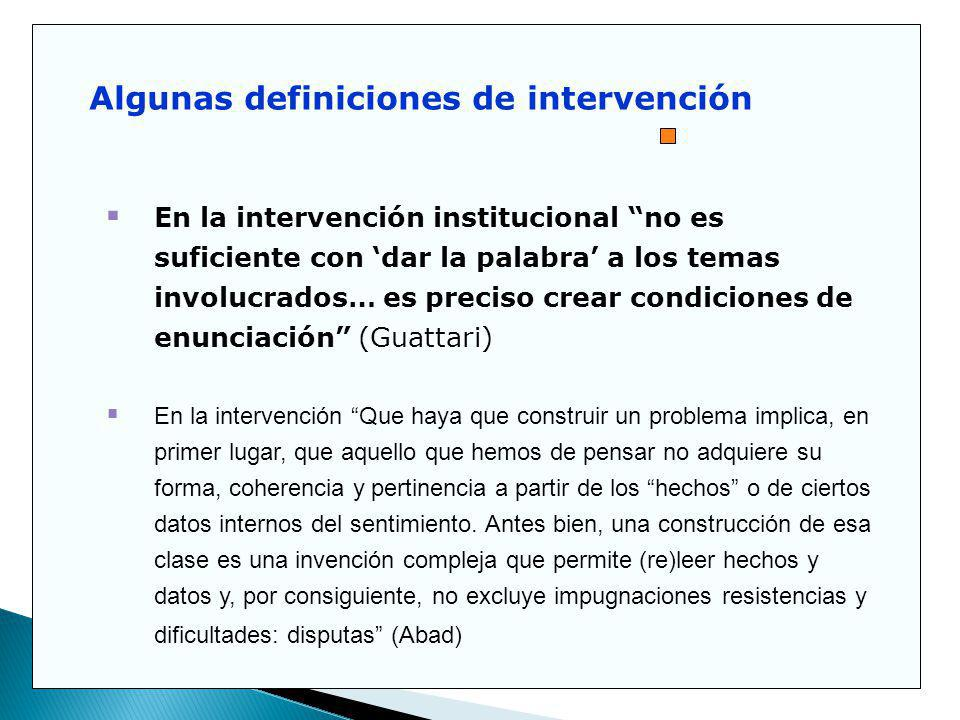 Algunas definiciones de intervención