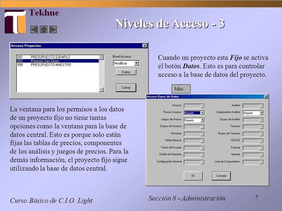 Niveles de Acceso - 3 Cuando un proyecto esta Fijo se activa el botón Datos. Esto es para controlar acceso a la base de datos del proyecto.
