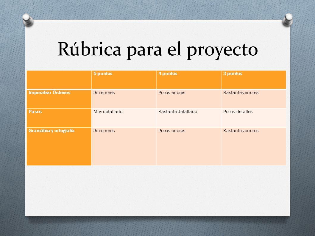 Rúbrica para el proyecto