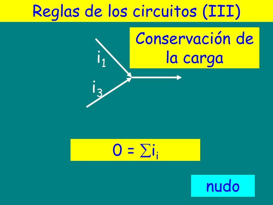 i1 i2 i3 Reglas de los circuitos (III) Conservación de la carga