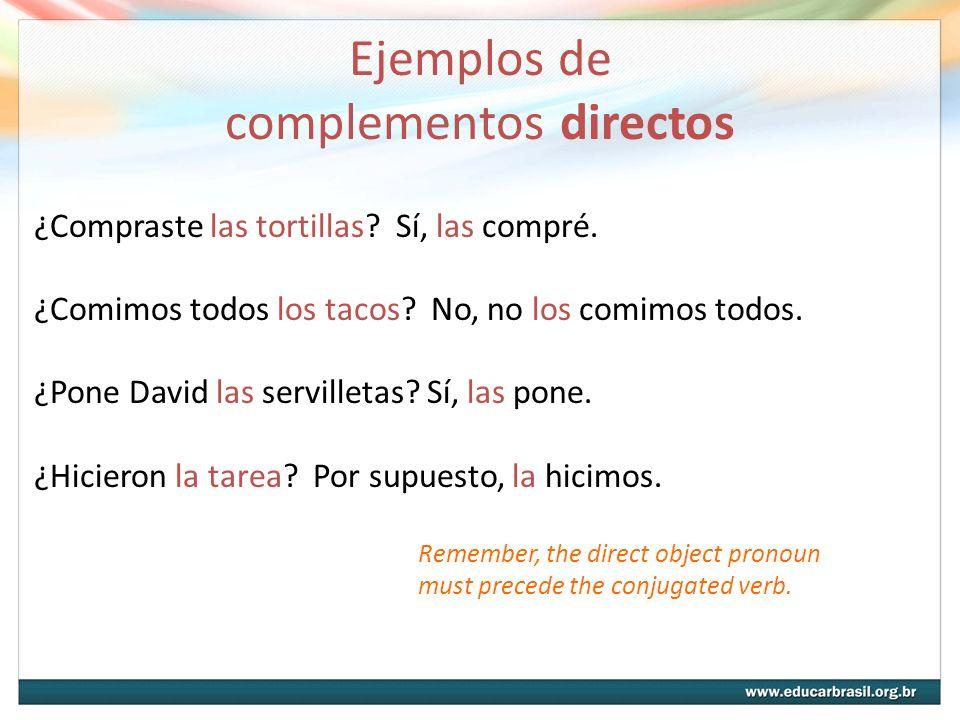 Ejemplos de complementos directos