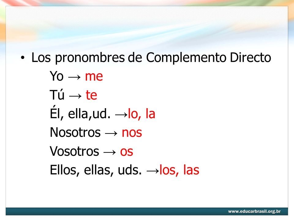 Los pronombres de Complemento Directo
