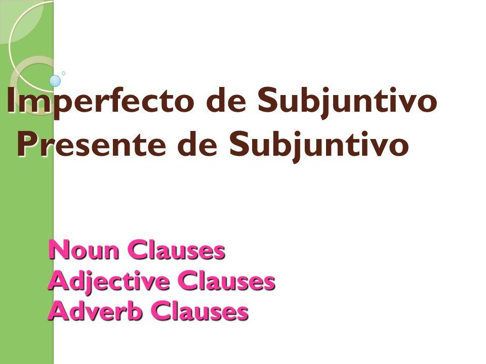 Imperfecto de Subjuntivo Presente de Subjuntivo