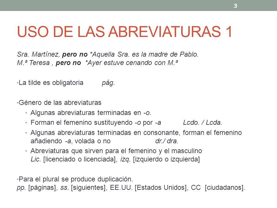USO DE LAS ABREVIATURAS 1