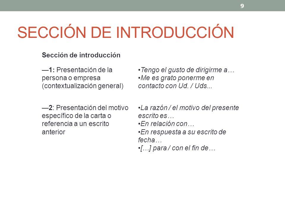 SECCIÓN DE INTRODUCCIÓN