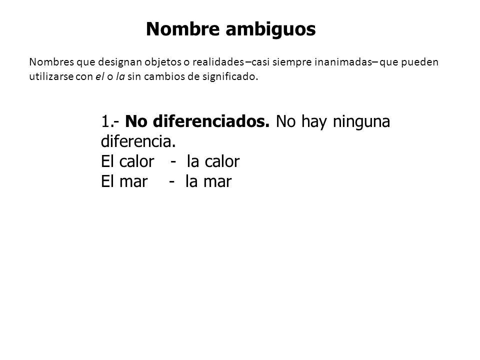 Nombre ambiguos 1.- No diferenciados. No hay ninguna diferencia.