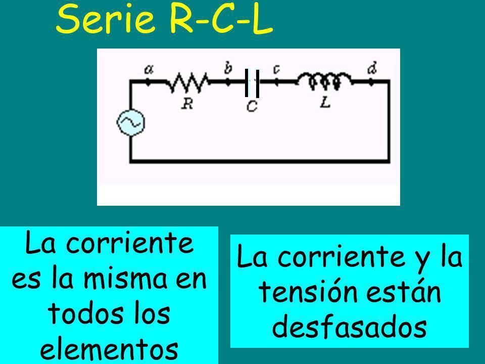 Serie R-C-L La corriente es la misma en todos los elementos