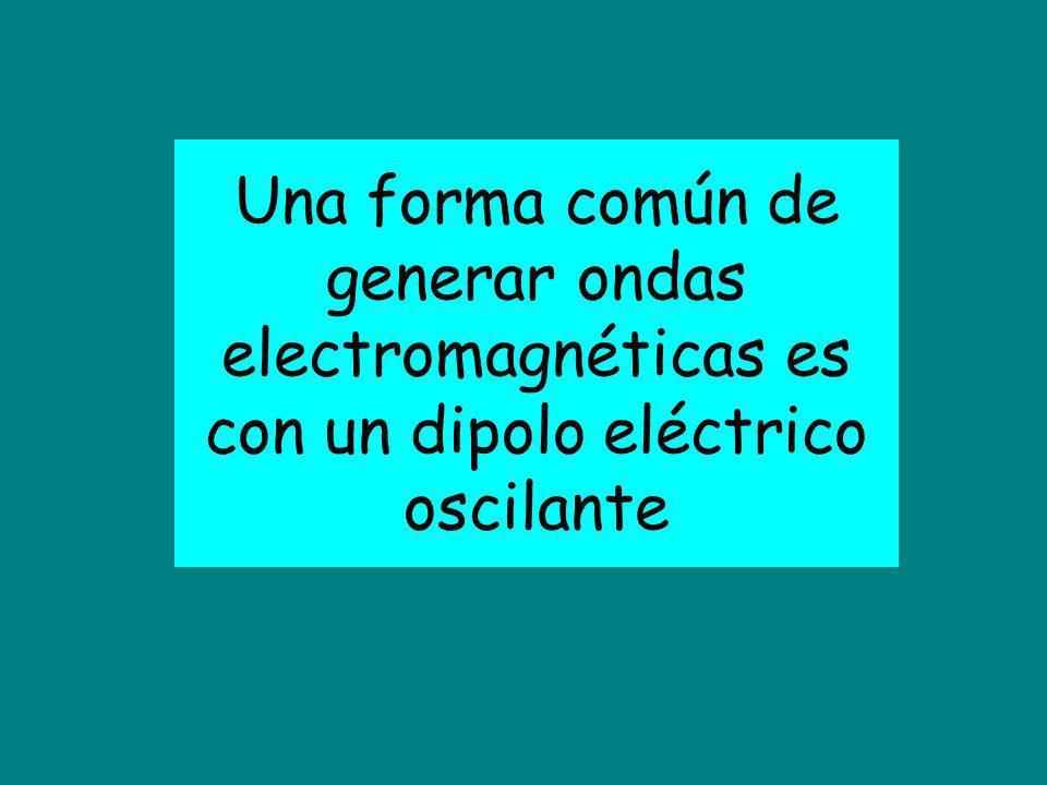 Una forma común de generar ondas electromagnéticas es con un dipolo eléctrico oscilante