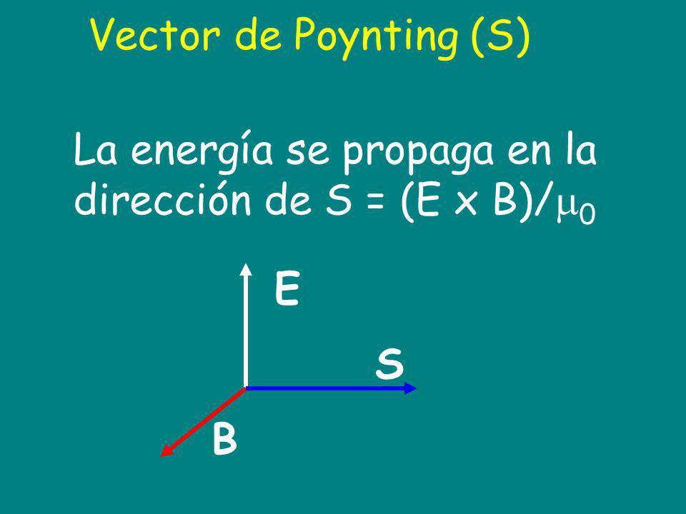 La energía se propaga en la dirección de S = (E x B)/0