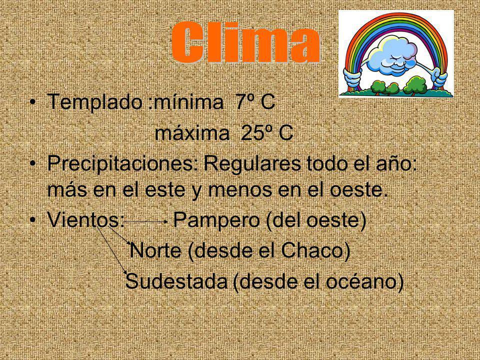 Clima Templado :mínima 7º C máxima 25º C