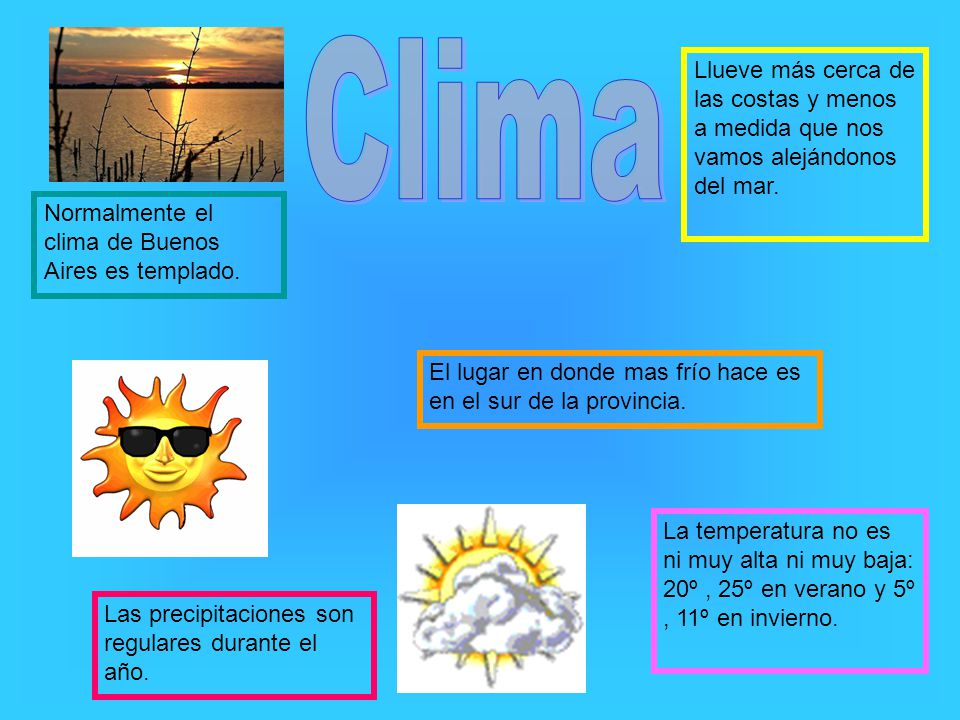 Clima Llueve más cerca de las costas y menos a medida que nos vamos alejándonos del mar. Normalmente el clima de Buenos Aires es templado.