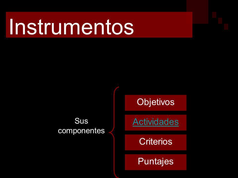Instrumentos Herramientas que permiten recoger datos, para juzgarlos en base a parámetros previamente establecidos