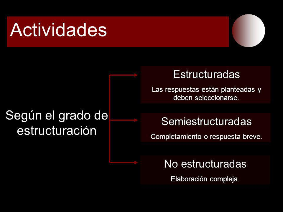 Actividades Según el grado de estructuración Estructuradas