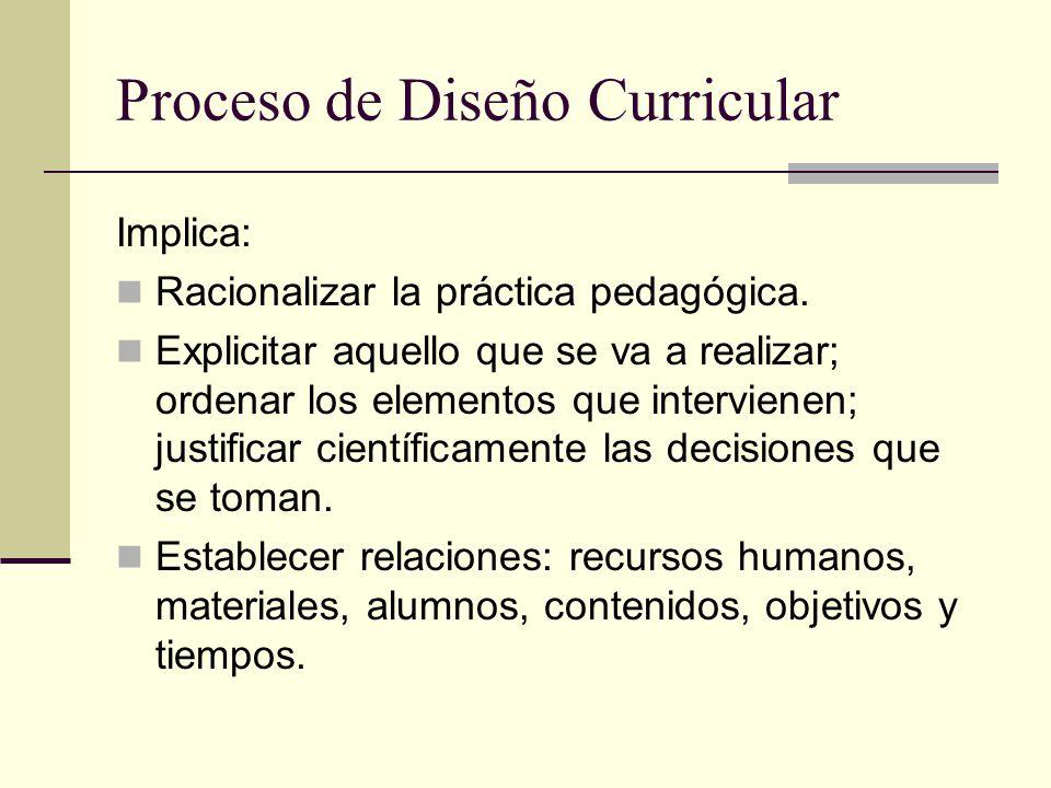 Proceso de Diseño Curricular