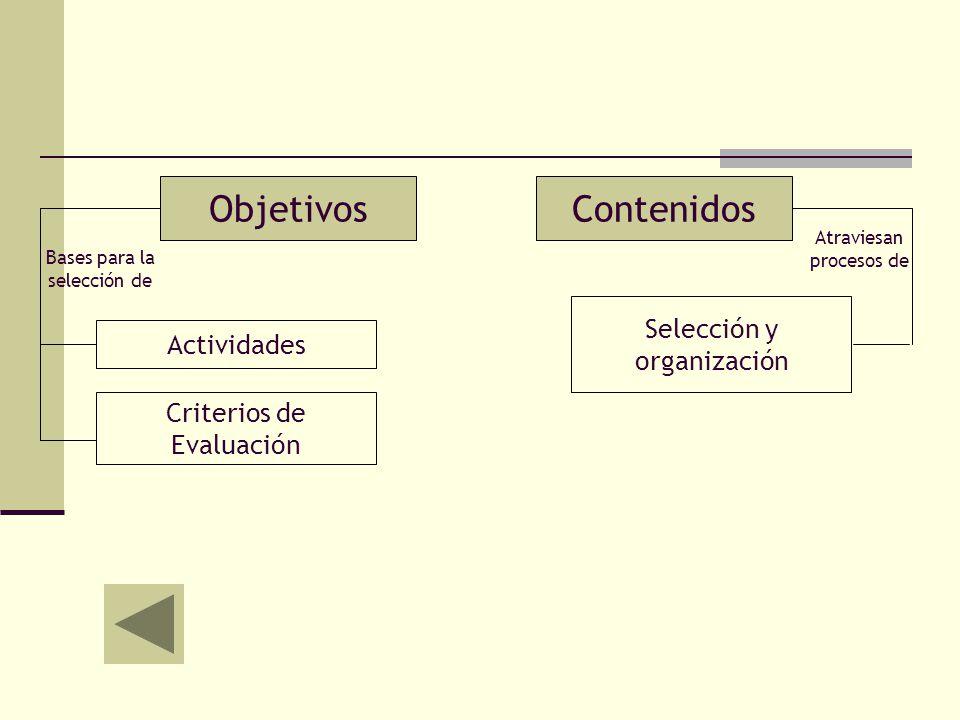Objetivos Contenidos Selección y organización Actividades