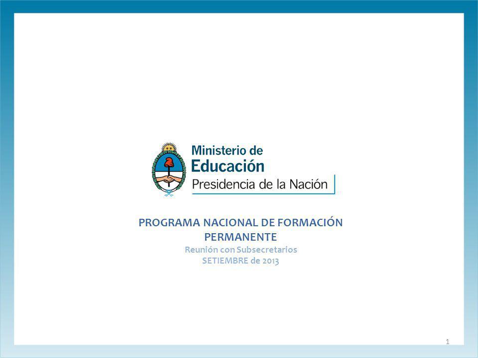 PROGRAMA NACIONAL DE FORMACIÓN PERMANENTE Reunión con Subsecretarios