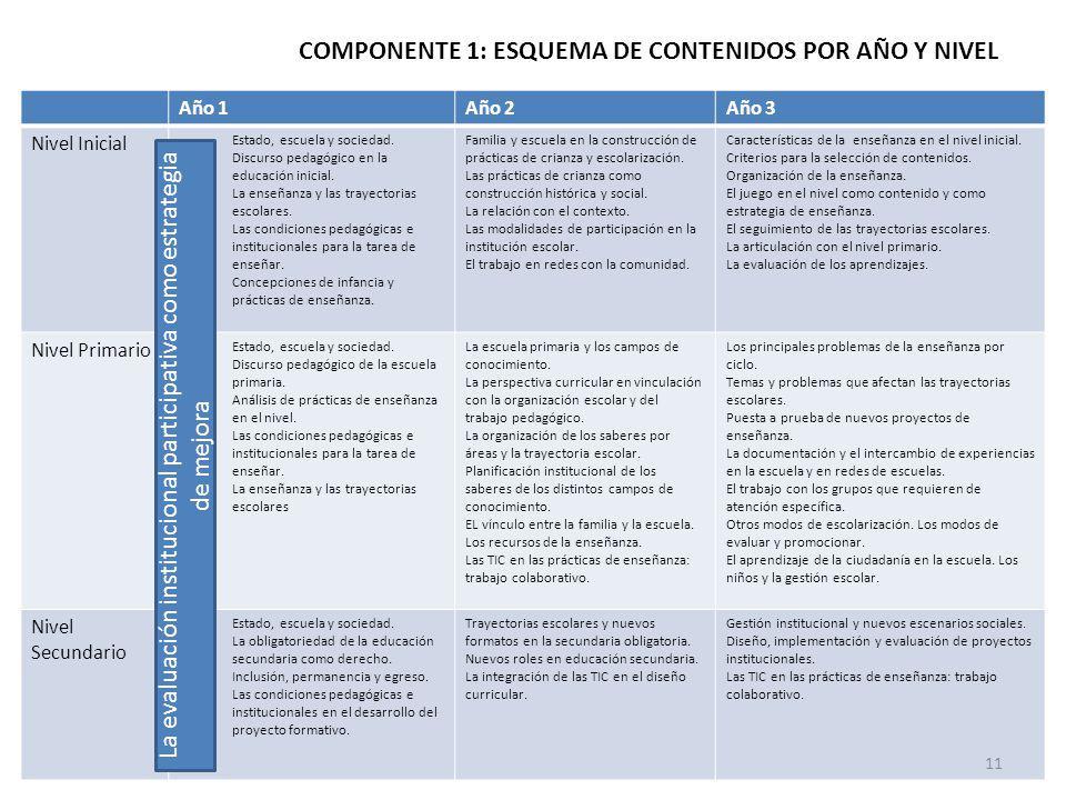 COMPONENTE 1: ESQUEMA DE CONTENIDOS POR AÑO Y NIVEL
